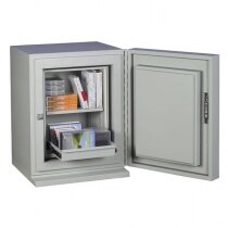 The safe is supplied with a shelf and an extendible drawer