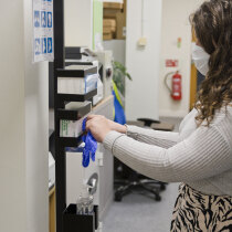 Allows for the easy dispensing of gloves to customers and employees