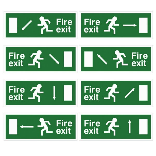 Self-Adhesive EEC Directive Fire Exit Signs