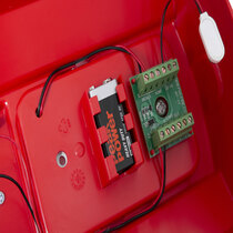 Push button site alarm is powered by a 9V battery