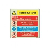 Hazardous area warning sign - 105mm x 150mm