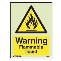 """Warning, flammable liquid"" sign"