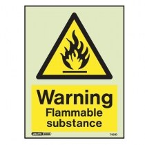 """Warning, flammable substance"" sign"