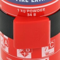 The Gloria 1kg powder fire extinguisher is supplied with a bracket and strap