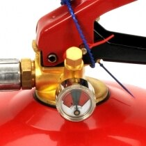 The Gloria fire extinguisher has an easy to read pressure gauge