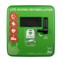 Polycarbonate Outdoor Defibrillator Cabinet with Code Lock, Heating and Light - Green