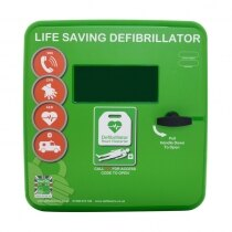 Polycarbonate Outdoor Defibrillator Cabinet with Heating System and Light - Green