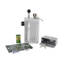 Inward opening emergency bolt with option to switch off the audio alarm