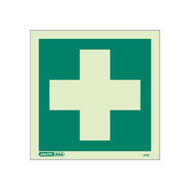 First Aid Sign, No Text, 150x150mm, Rigid PVC