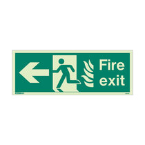 NHS Fire Exit Sign - Rigid Plastic - Left - Size J (200 x 450mm)