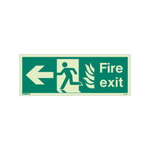 NHS Fire Exit Sign - Rigid Plastic - Left - Size K (150 x 400mm)