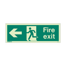 Fire Exit Sign - Rigid Plastic - Left - Size J