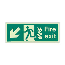 NHS Fire Exit Sign - Rigid Plastic - Down/Left - Size J (200 x 450mm)