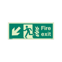 NHS Fire Exit Sign - Rigid Plastic - Down/Left - Size K (150 x 400mm)