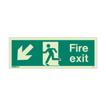 Fire Exit Sign - Rigid Plastic - Down/Left - Size J