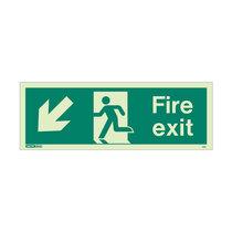 Fire Exit Sign - Rigid Plastic - Down/Left - Size J