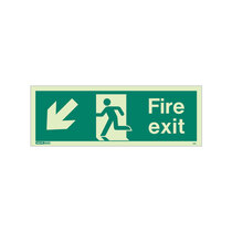 Fire Exit Sign - Rigid Plastic - Down/Left - Size K