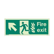 NHS Fire Exit Sign - Rigid Plastic - Up/Left - Size J (200 x 450mm)
