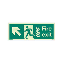 NHS Fire Exit Sign - Rigid Plastic - Up/Left  - Size K (150 x 400mm)