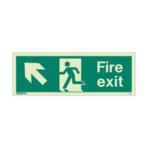 Fire Exit Sign - Rigid Plastic - Up/Left - Size J