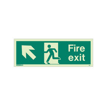 Fire Exit Sign - Rigid Plastic - Up/Left - Size K