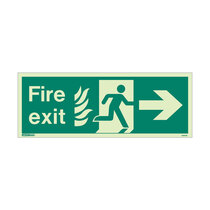 NHS Fire Exit Sign - Rigid Plastic - Right - Size J (200 x 450mm)