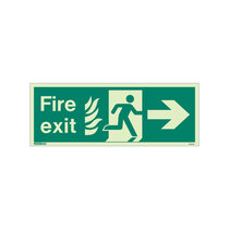 NHS Fire Exit Sign - Rigid Plastic - Right - Size K (150 x 400mm)
