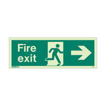 Fire Exit Sign - Rigid Plastic - Right - Size J