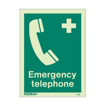 Emergency Telephone - Portrait sign with text - 150 x 200mm