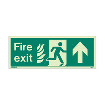 NHS Fire Exit Sign - Rigid Plastic - Up - Size J (200 x 450mm)