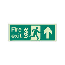 NHS Fire Exit Sign - Rigid Plastic - Up - Size K (150 x 400mm)