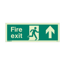 Fire Exit Sign - Rigid Plastic - Up - Size J