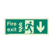 NHS Fire Exit Sign - Rigid Plastic - Down - Size J (200 x 450mm)