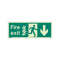 NHS Fire Exit Sign - Rigid Plastic - Down - Size K (150 x 400mm)