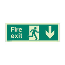 Fire Exit Sign - Rigid Plastic - Down - Size J