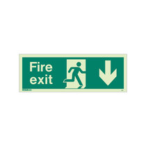 Fire Exit Sign - Rigid Plastic - Down - Size K