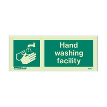 Hand Wash Facility - landscape sign with text - 80 x 200mm