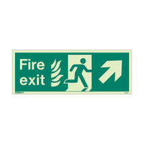 NHS Fire Exit Sign - Rigid Plastic - Up/Right - Size J (200 x 450mm)