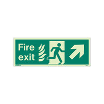 NHS Fire Exit Sign - Rigid Plastic - Up/Right - Size K (150 x 400mm)