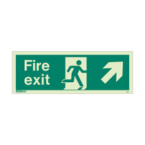 Fire Exit Sign - Rigid Plastic - Up/Right - Size J