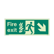 NHS Fire Exit Sign - Rigid Plastic - Down/Right - Size J (200 x 450mm)