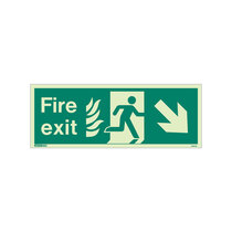 NHS Fire Exit Sign - Rigid Plastic - Down/Right - Size K (150 x 400mm)