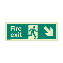 Fire Exit Sign - Rigid Plastic - Down/Right - Size J