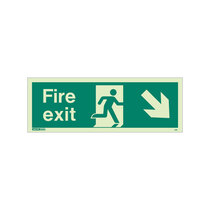 Fire Exit Sign - Rigid Plastic - Down/Right - Size K