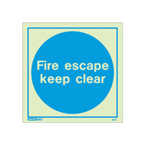 Fire Escape Keep Clear door sign - 200 x 200mm