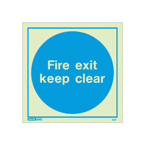 Fire Exit Keep Clear door sign - 200 x 200mm