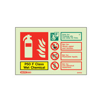 Extinguisher sign - P50 F Class Wet Chemical - 105mm x 150mm