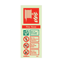 Photo-Luminescent Fire Hose - Portrait sign - 200 x 80mm