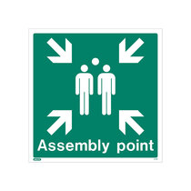 White Rigid Plastic Assembly Point Sign with Text