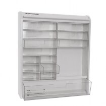 Multiple trays/drawers enable first aid equipment to be kept tidy and organised